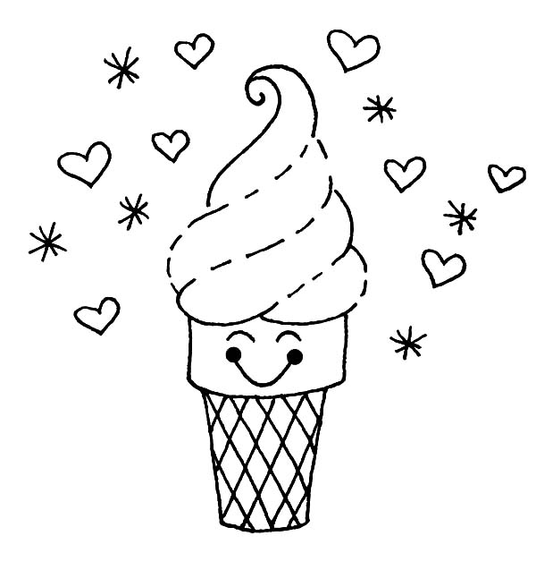Ice Cream Cone, : Ice Cream Cone Beautiful Hair Coloring Pages