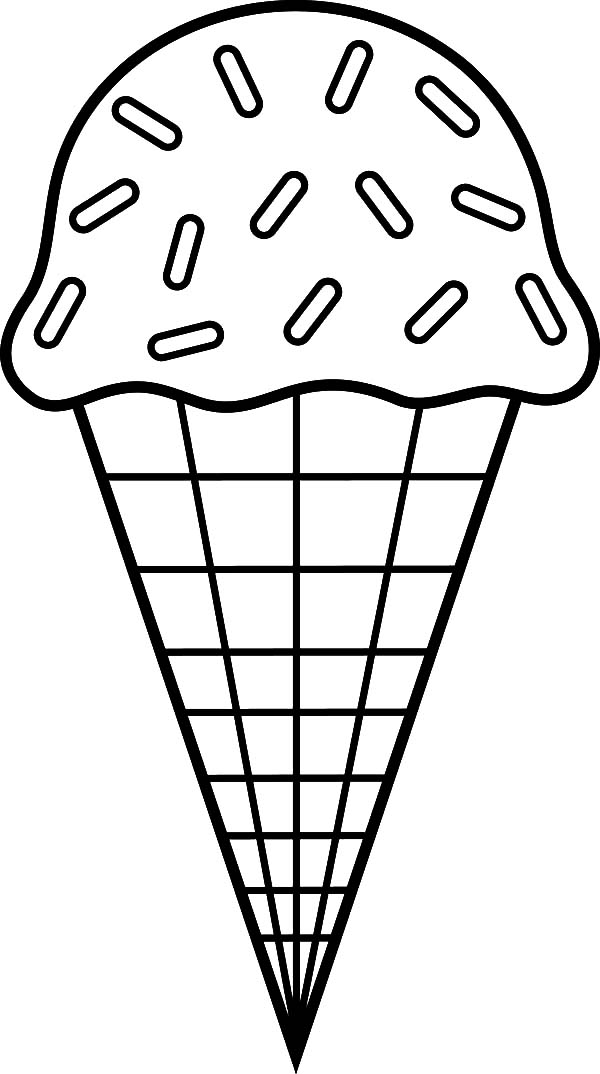 Ice Cream Cone, : Ice Cream Cone Chocolate Sprinkles Coloring Pages