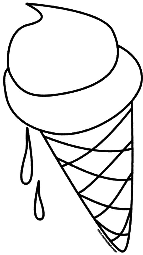 Ice Cream Cone, : Ice Cream Cone Melting Coloring Pages