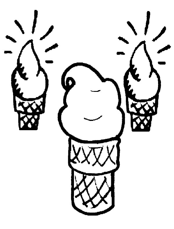 Ice Cream Cone, : Ice Cream Cone Shining Bright Coloring Pages