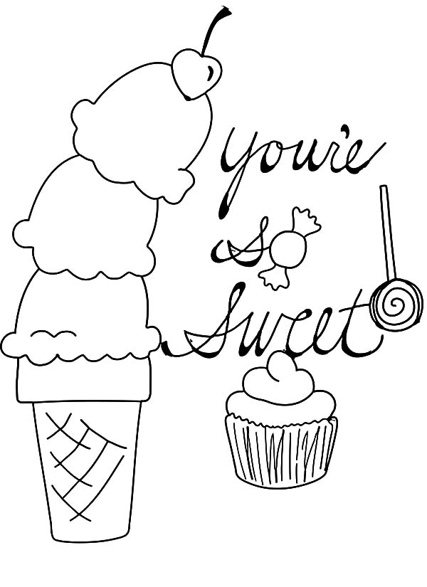 Ice Cream Cone, : Ice Cream Cone and Sweet Coloring Pages