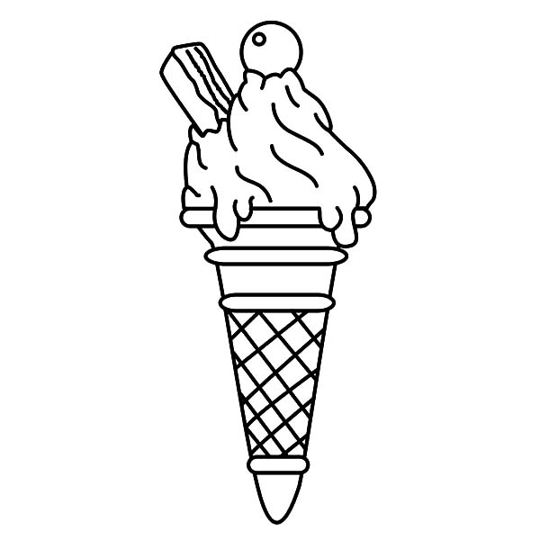 Ice Cream Cone, : Ice Cream Cone with Wafer Coloring Pages
