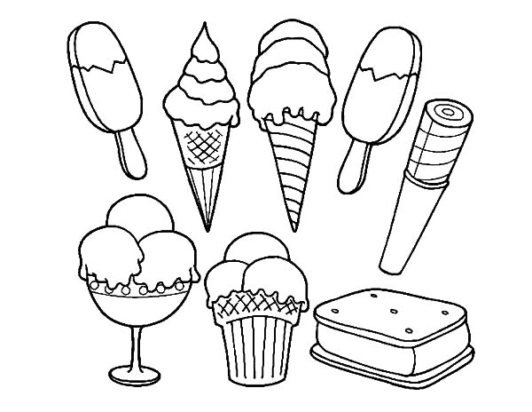 Ice Cream, : Ice Cream Sandwich Coloring Pages