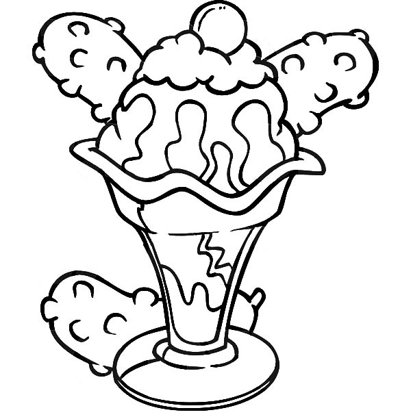 Ice Cream, : Ice Cream Sundae Coloring Pages