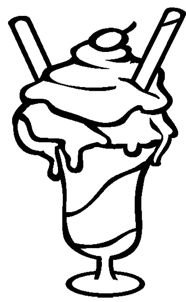 Ice Cream, : Ice Cream Sundae is so Yummy Coloring Pages