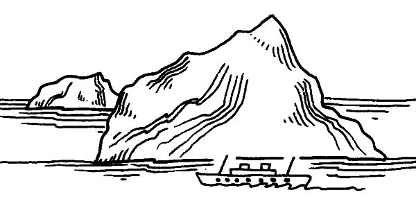 Iceberg, : Iceberg and Ship Coloring Pages