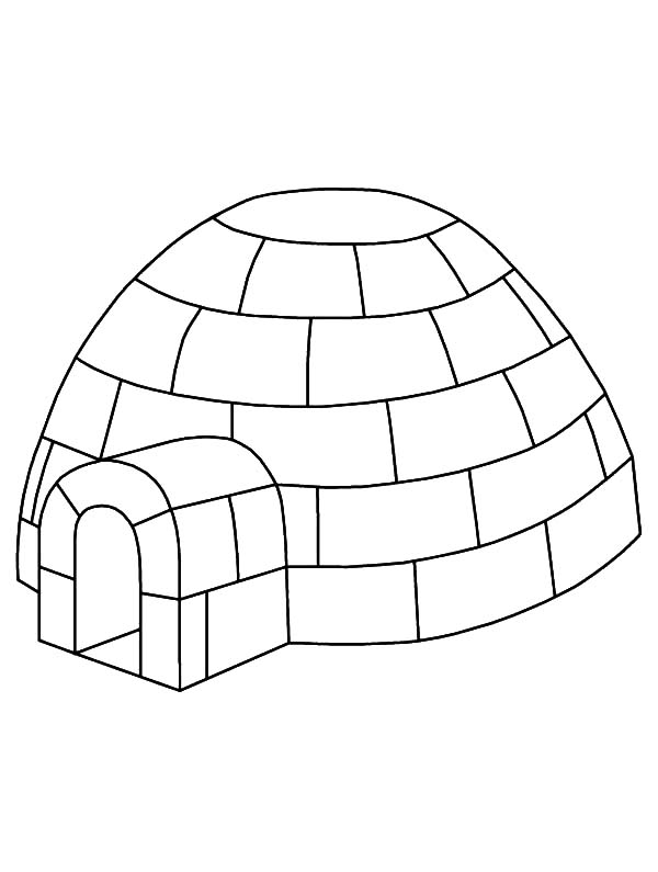 Igloo, : Igloo Outline Coloring Pages