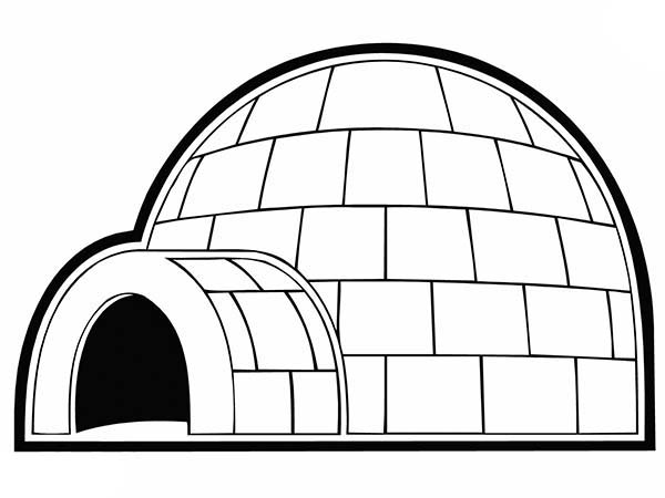 Igloo, : Igloo for Eskimo People Coloring Pages