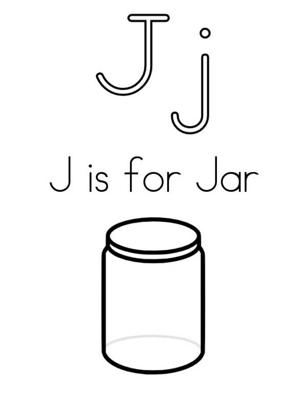 Jar, : J is for Jar Coloring Pages