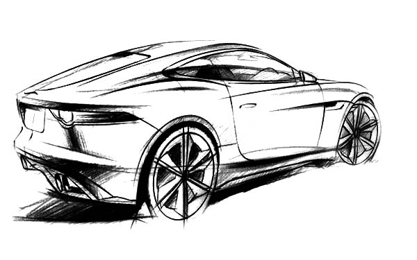 Jaguar Cars, : Jaguar C X16 Concept Sketch Coloring Pages