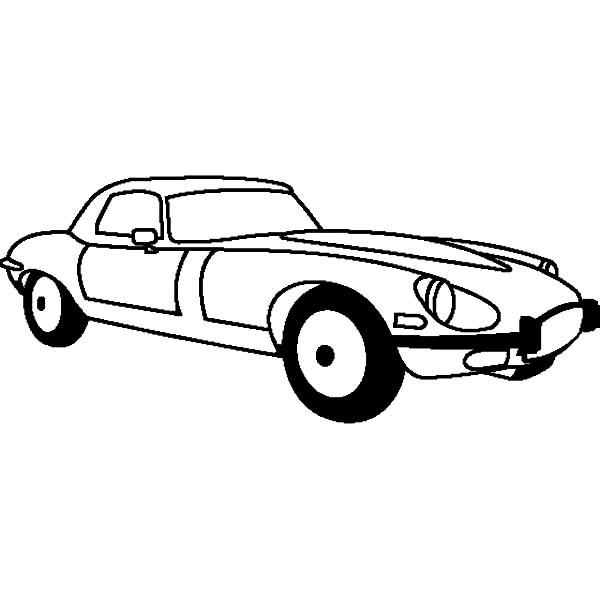 Jaguar Cars, : Jaguar E Type 1961 Cars Coloring Pages