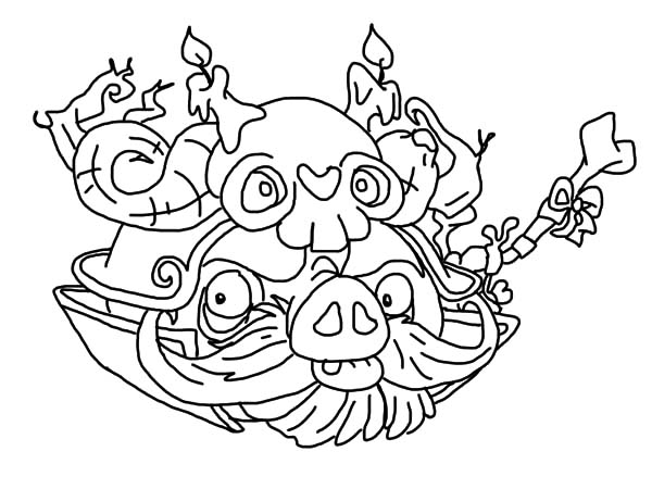 Angry Bird Pigs, : Japanese Warlord Angry Bird Pigs Coloring Pages