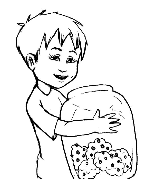 Jar, : Kid Hug Yummy Cookie Jar Coloring Pages