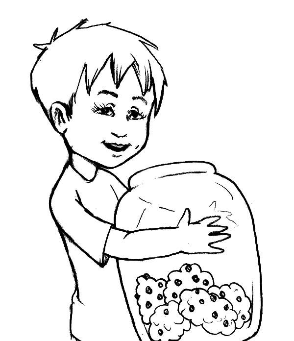 Jar, : Kid Hug Yummy Cookie Jar Coloring Pages