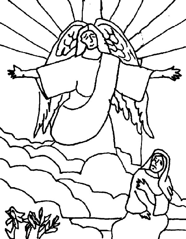 Angel Appears To Mary, : Kids Drawing Angel Appears to Mary Coloring Pages