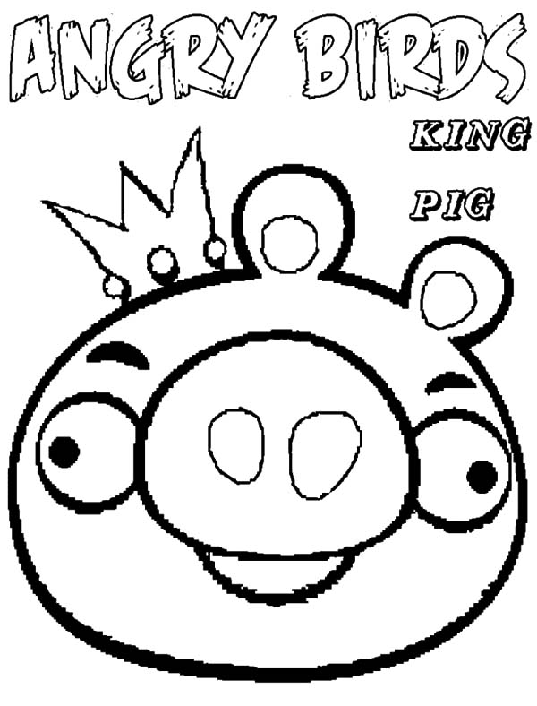 Angry Bird Pigs, : King of Angry Bird Pigs Coloring Pages