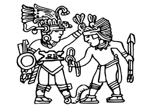 Aztec, : King of Aztec Bless His Warrior Coloring Pages