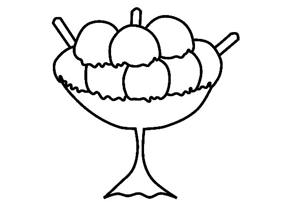 Ice Cream, : Large Size Ice Cream for Three Coloring Pages