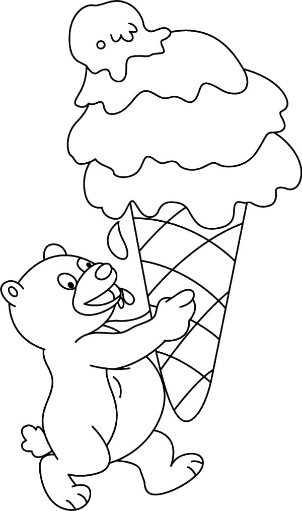 Ice Cream Cone, : Little Bear with Huge Size of Ice Cream Cone Coloring Pages