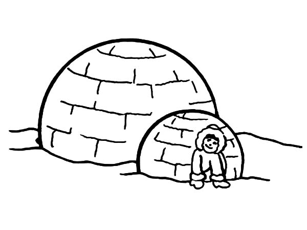 Igloo, : Little Eskimo Girl Sitting in Front of Her Igloo Coloring Pages