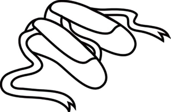 Ballerina Shoes, : Long Ribbon Ballerina Shoes Coloring Pages