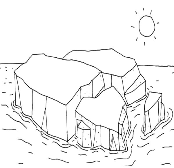 Iceberg, : Melting Iceberg Coloring Pages