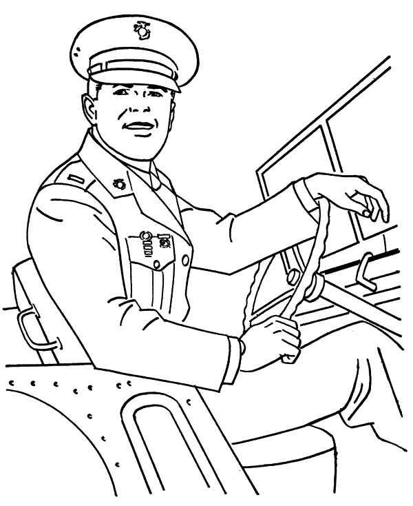 Army, : Military Army General Driving Car Coloring Pages