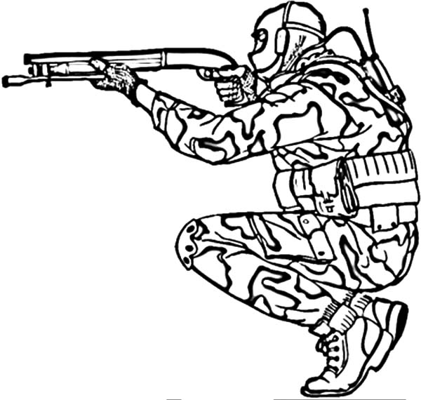 Army, : Military Army Shooting Shotgun Coloring Pages