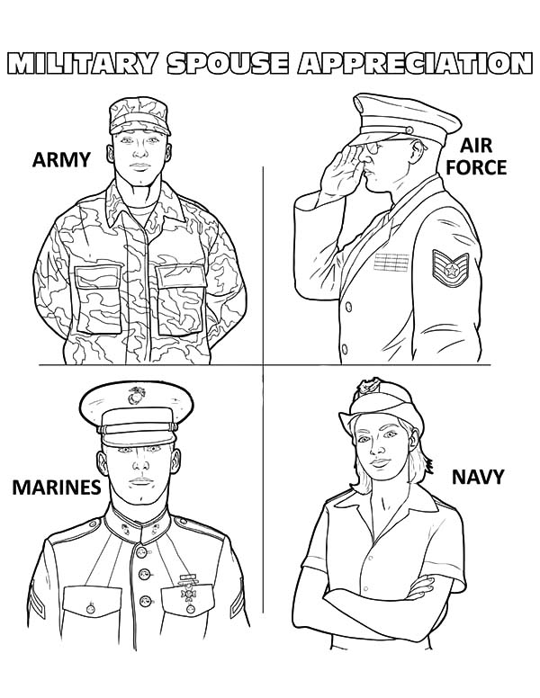 Army, : Military Spouse Appreciation Army Coloring Pages