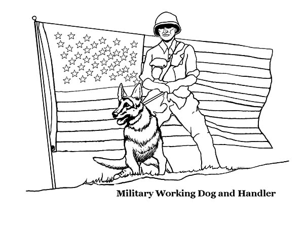 Army, : Military Working Dog Army and Handler Coloring Pages