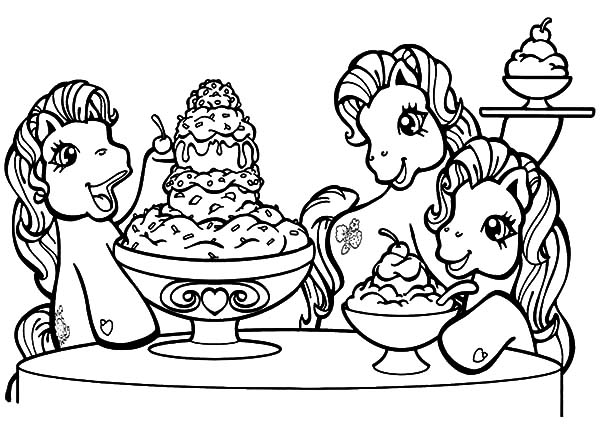 Ice Cream, : My Little Pony Love Ice Cream Coloring Pages