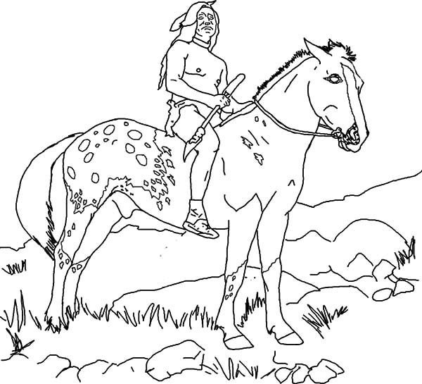 Appalooshorse, : Native American on Appalooshorse Coloring Pages