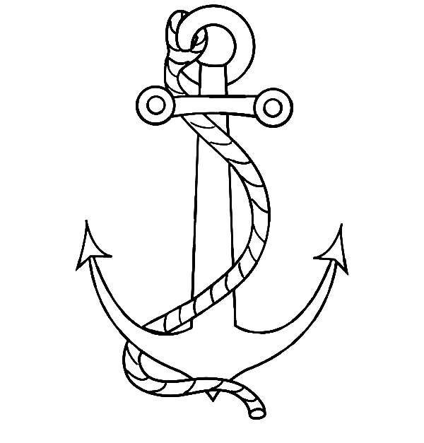 Anchor, : Nautical Anchor with a Rope Coloring Pages