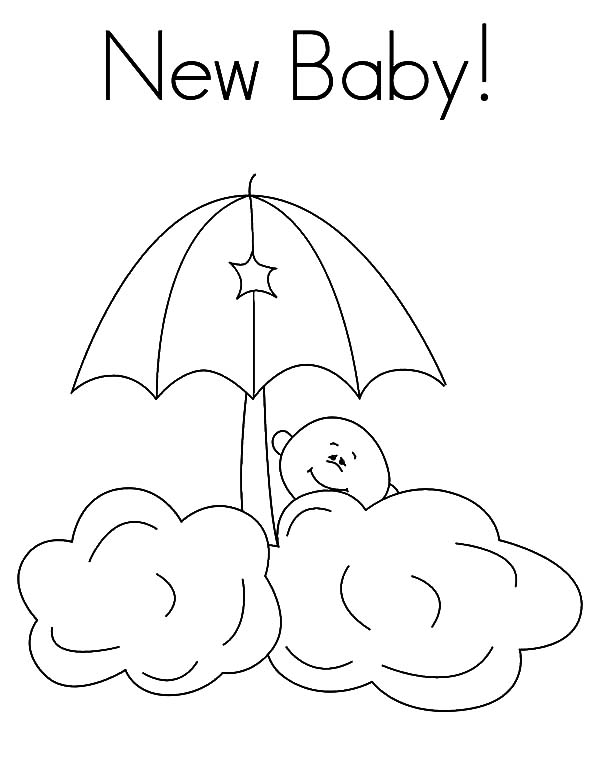 Babies, : New Babies Hide Behind the Clouds Coloring Pages