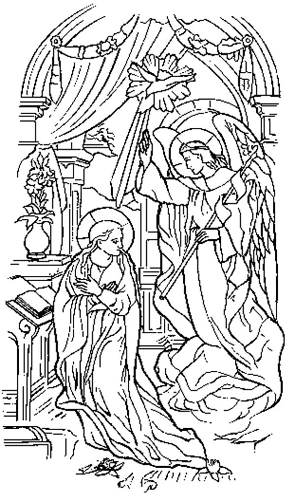 Angel Appears To Mary, : Painting of Angel Appears to Mary Coloring Pages