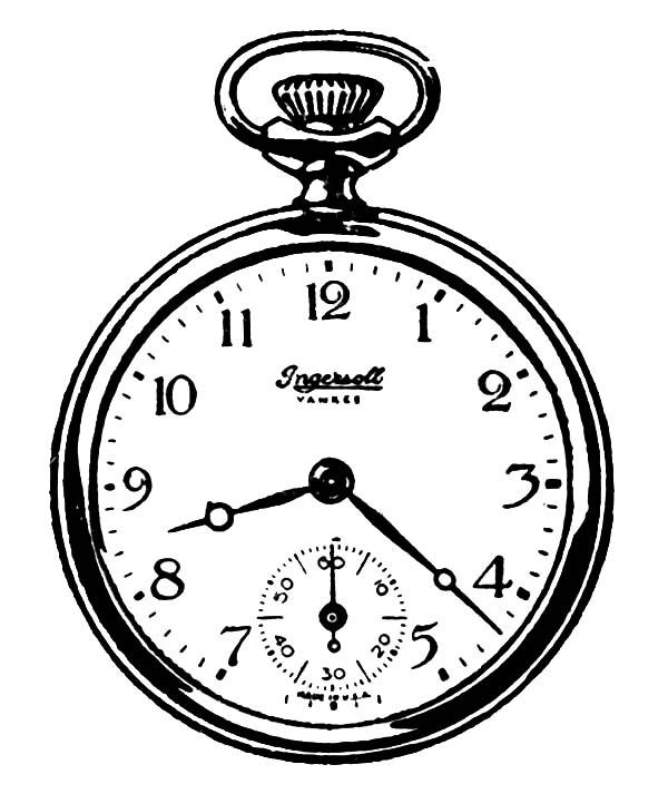 Analog Clock, : Pocket Analog Clock Watch Coloring Pages