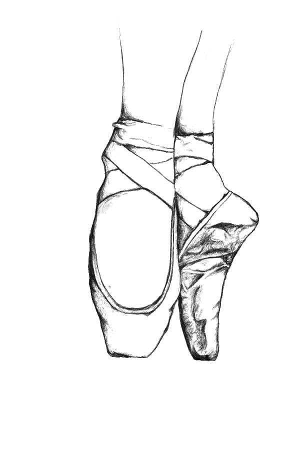 Ballerina Shoes, : Practicing with Ballerina Shoes Coloring Pages