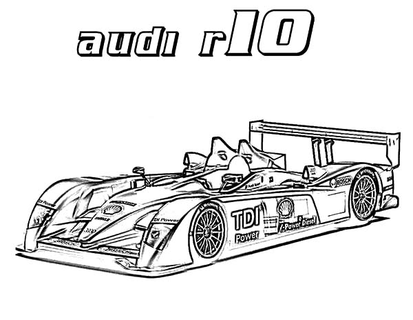 Audi Cars, : R10 Audi Cars Coloring Pages