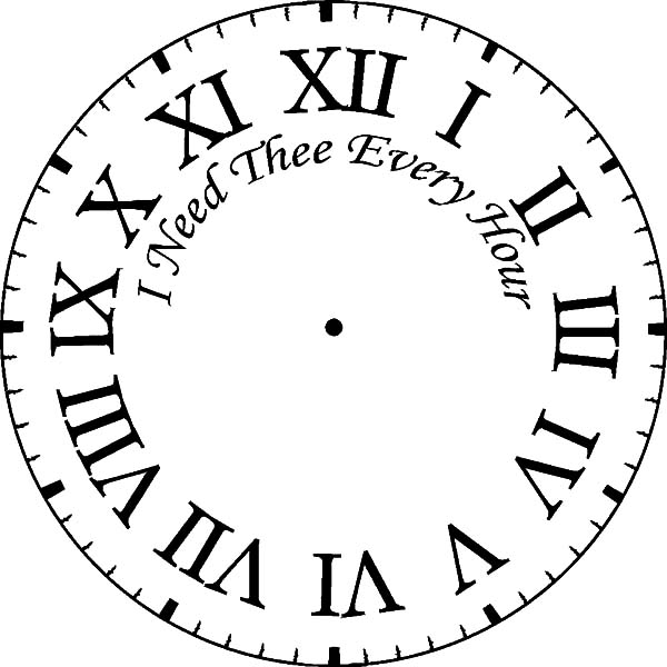 Analog Clock, : Romans Numerics Analog Clock Coloring Pages