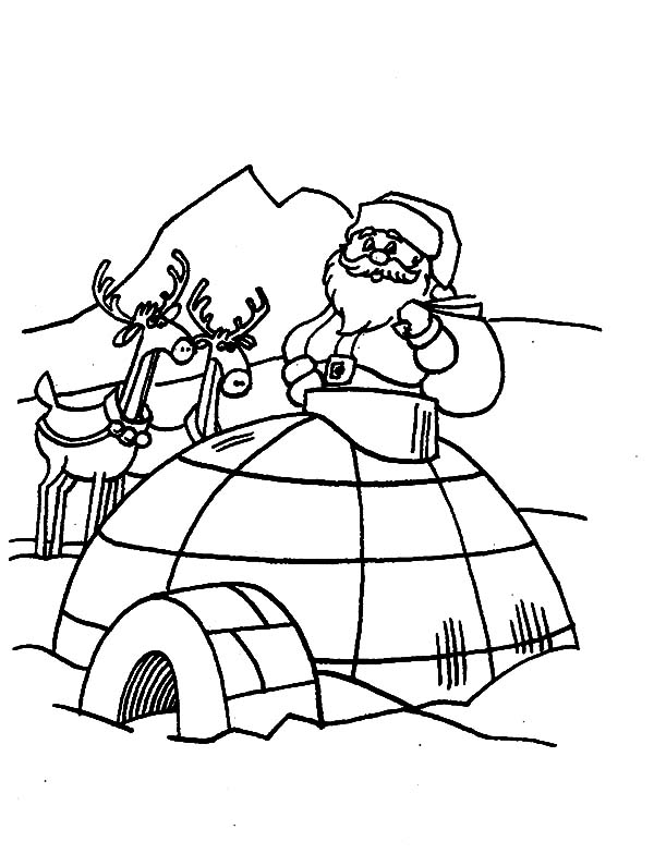 Igloo, : Santa Claus Visiting Igloo Coloring Pages
