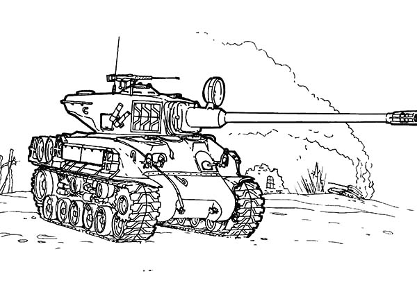 Army Car, : Sherman M 51 Army Car Coloring Pages