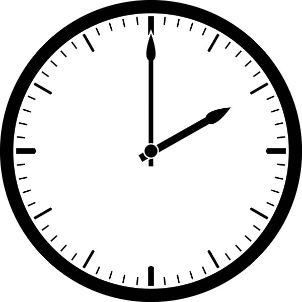 Analog Clock, : Simple Design Analog Clock Coloring Pages