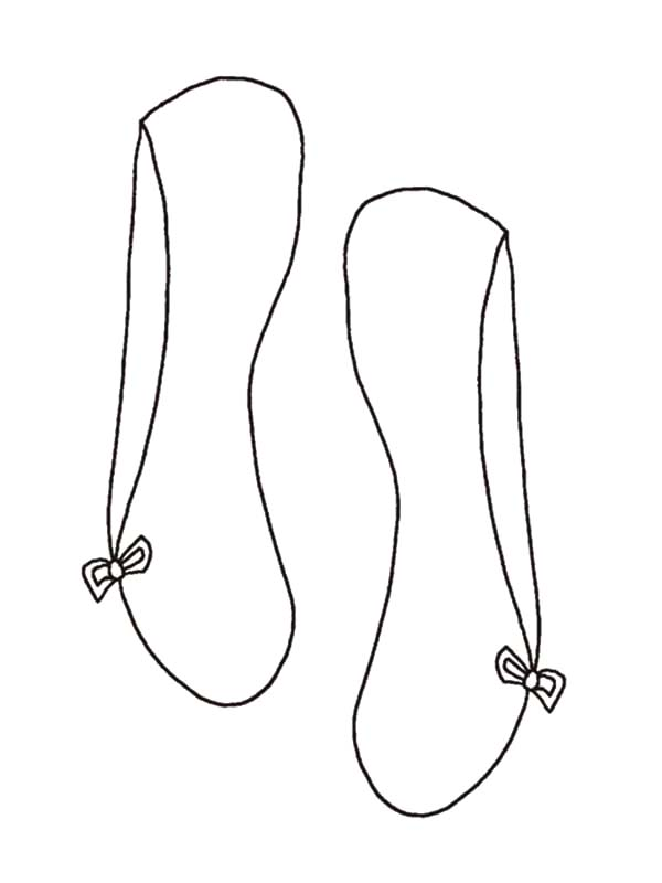 Ballerina Shoes, : Simple Design Ballerina Shoes Coloring Pages