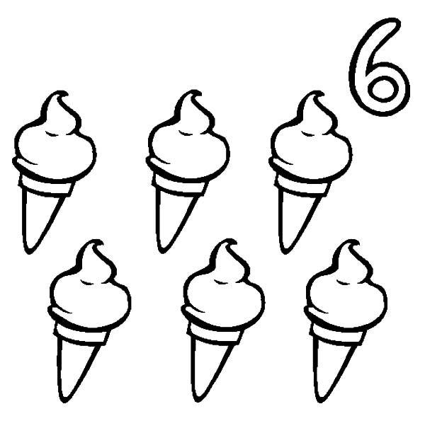 Ice Cream Cone, : Six Ice Cream Cone Coloring Pages