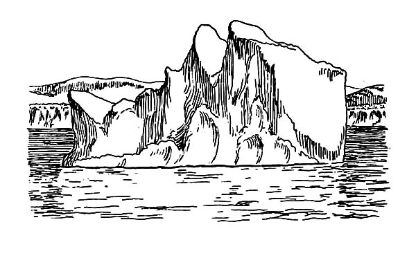 Iceberg, : Skecth of Iceberg Coloring Pages