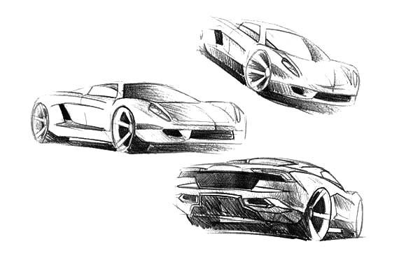 Jaguar Cars, : Sketch of Jaguar Cars Coloring Pages