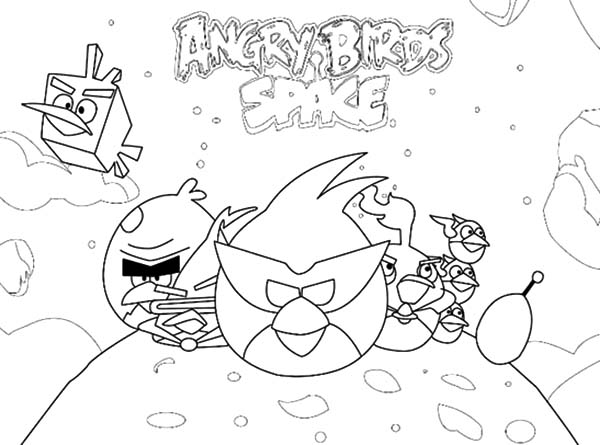 Angry Bird Space, : Space Adventure Angry Bird Space Coloring Pages