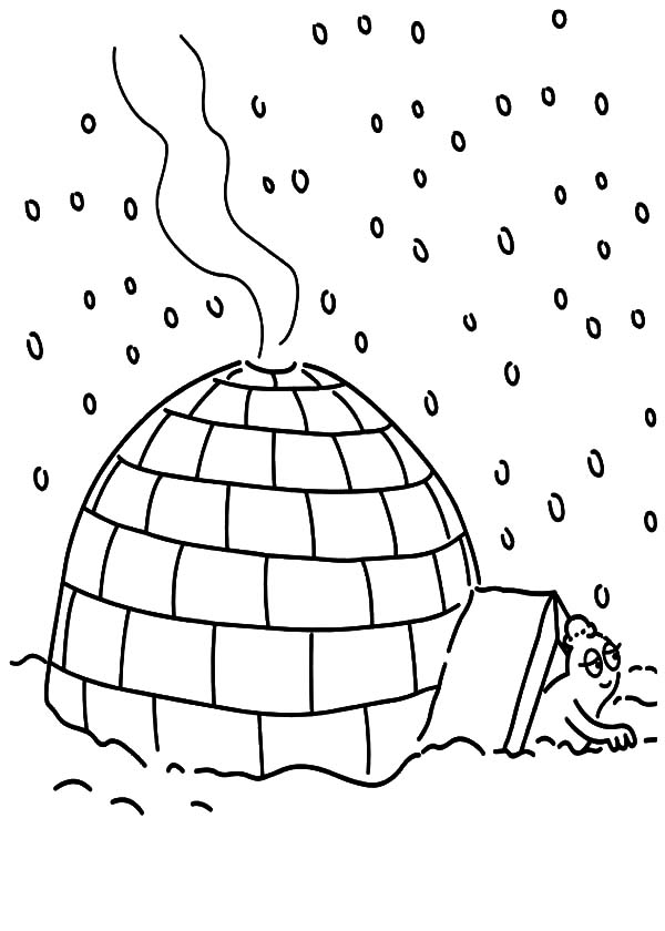 Two Kids Making Their Own Igloo Coloring Pages | Bulk Color