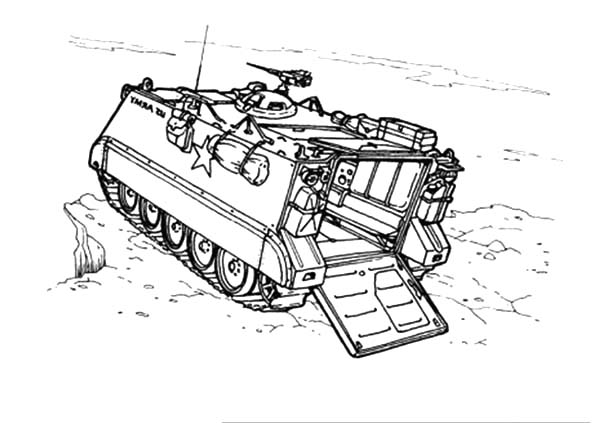 Army Car, : Tank M113 Army Car Coloring Pages