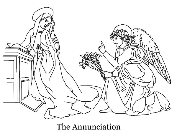 Angel Appears To Mary, : The Annunciation Angel Appears to Mary Coloring Pages